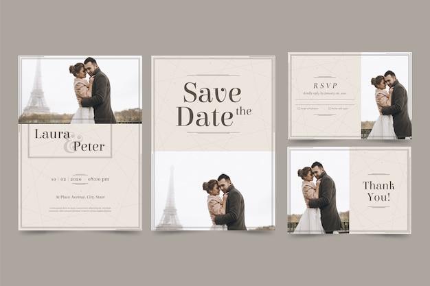 幸せなカップルは、日付の招待状を保存します