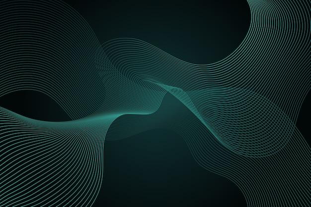 コピースペースで暗い緑の波状の背景