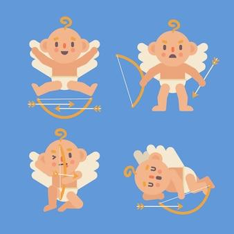 キューピッド天使キャラクターフラットデザインのセット