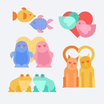 フラットバレンタインデーの動物のカップル