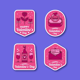 Коллекция бейджей ко дню святого валентина в плоском дизайне
