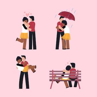 外に一緒にいるバレンタインカップル