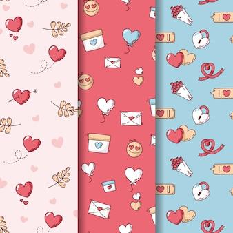 封筒と愛のバレンタインのシームレスパターン
