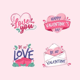 バレンタインの手描きのさまざまなラベルとバッジ