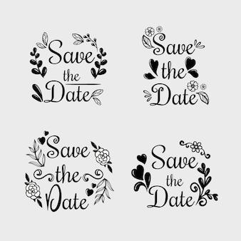 花の書道と日付の結婚式のテキストを保存