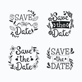 日付の結婚式のテキストを保存とレタリングの花のフレーム