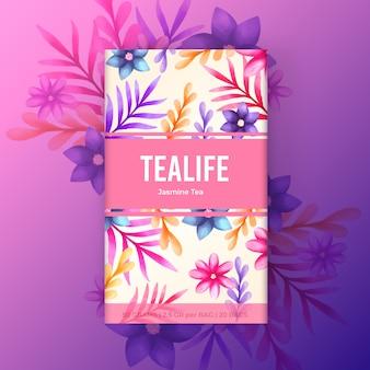 Акварельный дизайн чая с цветами в фиолетовых тонах
