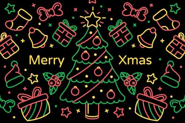 クリスマスは、アウトラインスタイルの背景を落書き