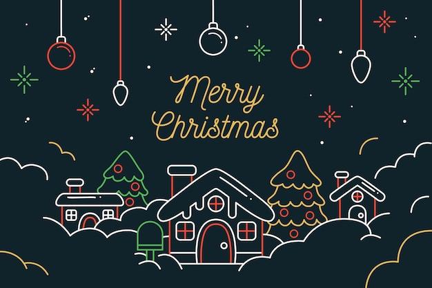 アウトラインスタイルのクリスマスシーンの背景