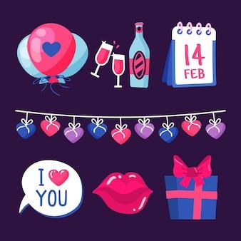 Рисунок с коллекцией элементов на день валентинок