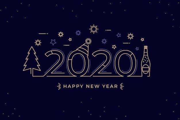 新年の背景のアウトラインスタイル