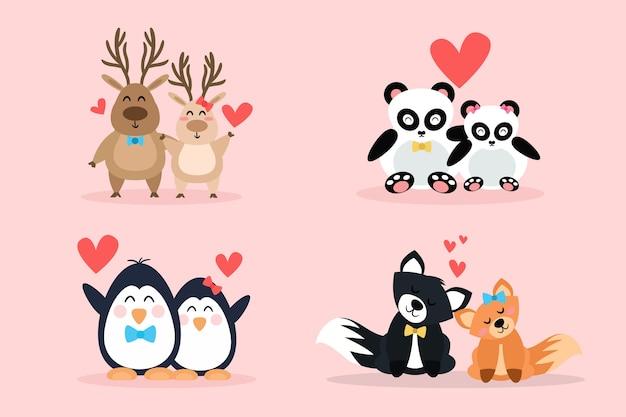 愛らしいバレンタインの日の動物のカップル