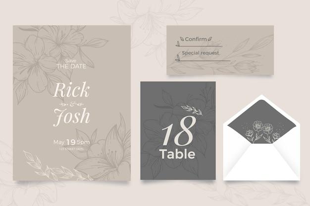 花のスタイルの結婚式の招待状