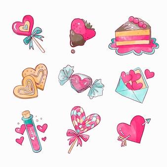 水彩バレンタインデー要素コレクション