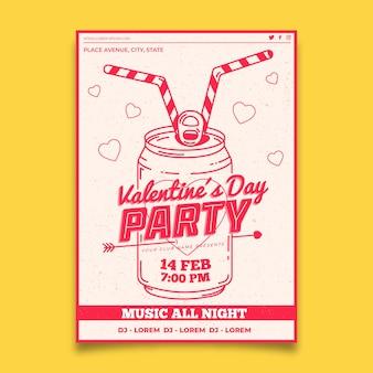 フラットなデザインバレンタインパーティーポスターテンプレート