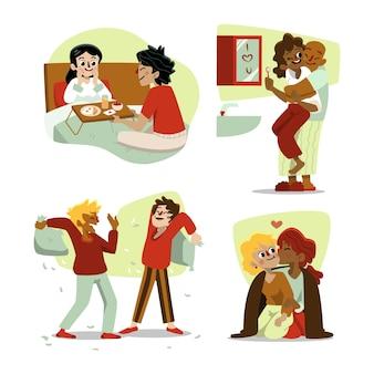 Иллюстрация с коллекцией пара день святого валентина