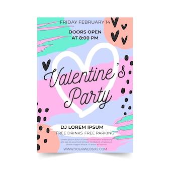 バレンタインパーティーフライヤーフラットデザイン
