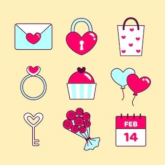 フラットなデザインスタイルのバレンタインデーの要素のパック