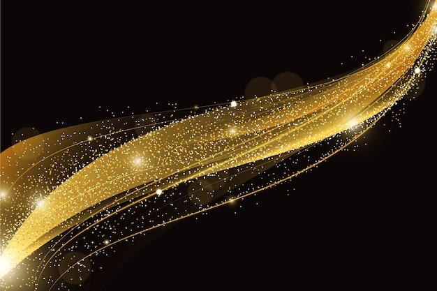 Блестящая и золотая волна фон концепции
