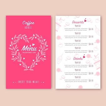 バレンタインの日のメニューのフラットなデザインコンセプト