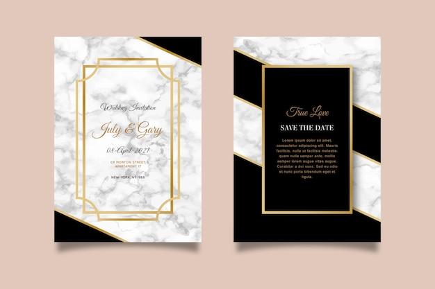 結婚式の大理石カードテンプレート