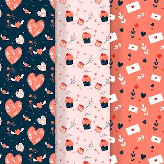 バレンタインの日パターンコレクションとフラットなデザイン