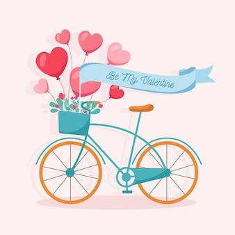 バレンタインデーの背景を持つフラットなデザイン