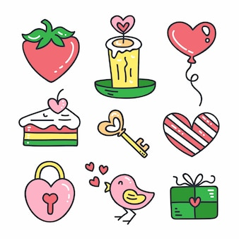 バレンタインデーのための要素のカラフルな描画