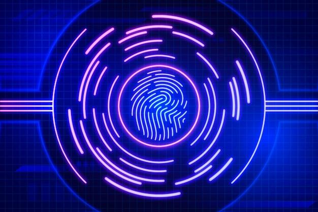 Неоновый дизайн фона отпечатков пальцев