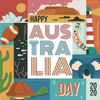 手描きオーストラリア日コンセプト