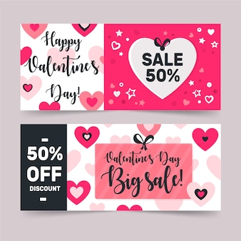 Плоский дизайн валентина продажи баннеров
