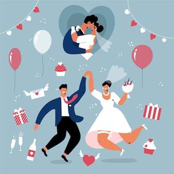 フラットなデザインの結婚式のカップル