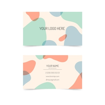 Абстрактный шаблон визитной карточки с пятнами пастельных тонов
