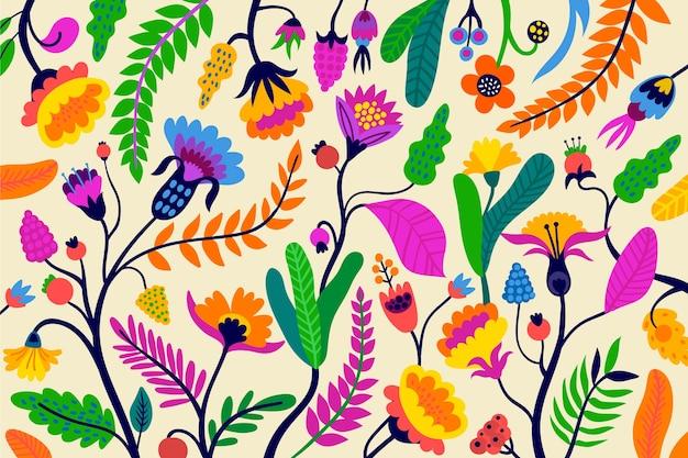 カラフルな花のエキゾチックな背景