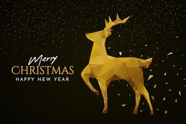 黄金の幾何学的なクリスマスのトナカイ