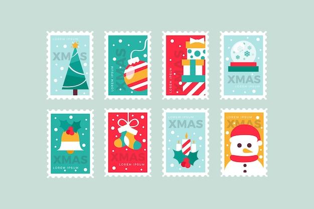Плоский дизайн коллекция рождественских марок