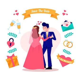 Свадебные пары в плоском дизайне