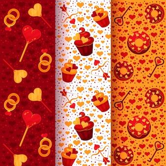 フラットなデザインのバレンタインの日パターンコレクション