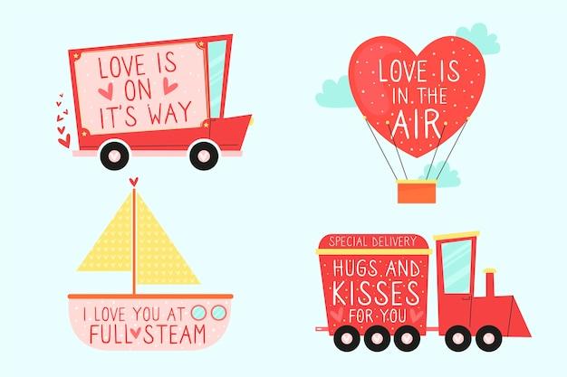 手描きのバレンタインの日バッジコレクション