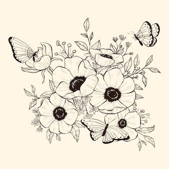 Реалистичная рисованной цветочный букет