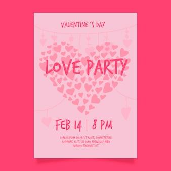 手描きのバレンタインパーティーフライヤーテンプレート