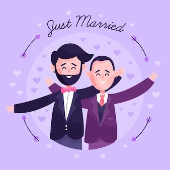 フラットデザインの結婚式のカップル