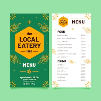 Шаблон меню ресторана с листьями