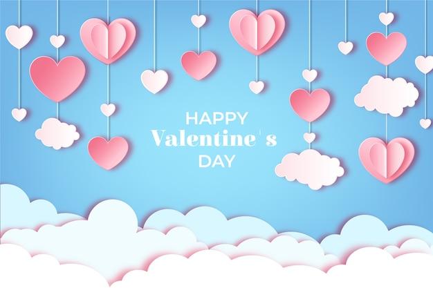 紙のスタイルでバレンタインデーの背景概念