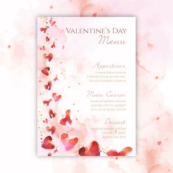 Шаблон меню акварель день святого валентина