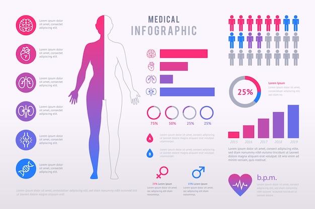 Красочный медицинский инфографики пакет