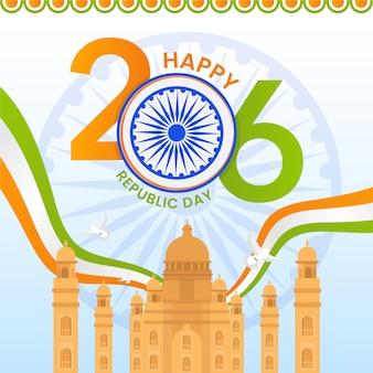 フラットなデザインでカラフルなインド共和国の日