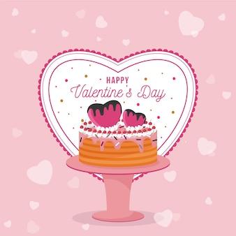 ケーキとフラットバレンタインデーの背景