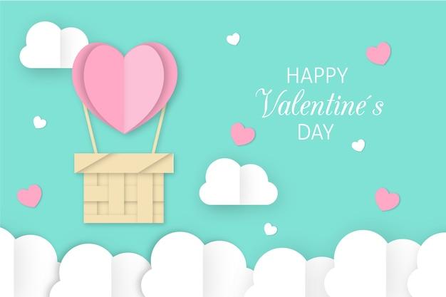 紙のスタイルでかわいいバレンタインデーの背景