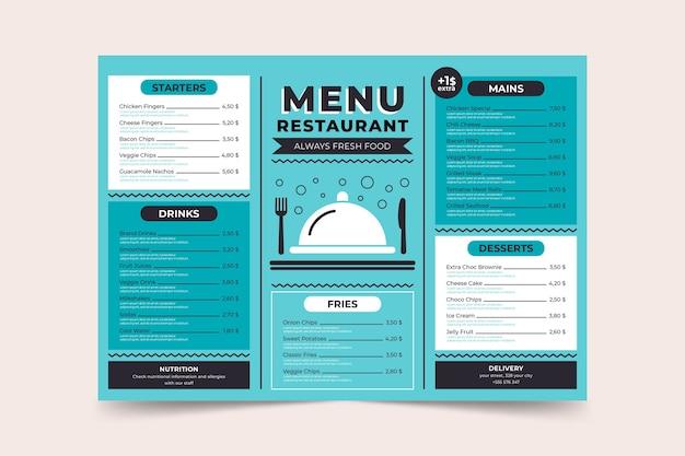 Синий минималистичный шаблон страницы меню